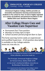 After College Hours Care and Vacation Care Supervisor Advertisement