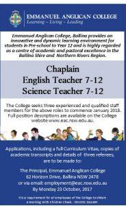 Chaplain, English Teacher, Science Teacher