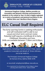 ELC Casual Staff Advertisement