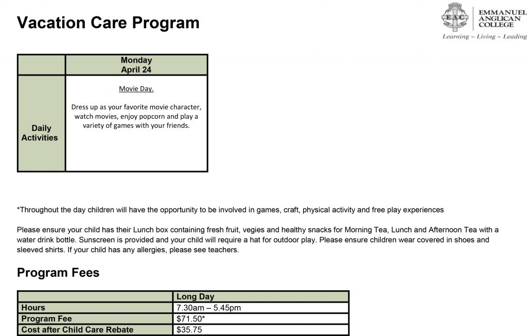 Vacation care April WK3