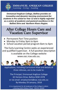 After College Hours Care and Vacation Care Supervisor
