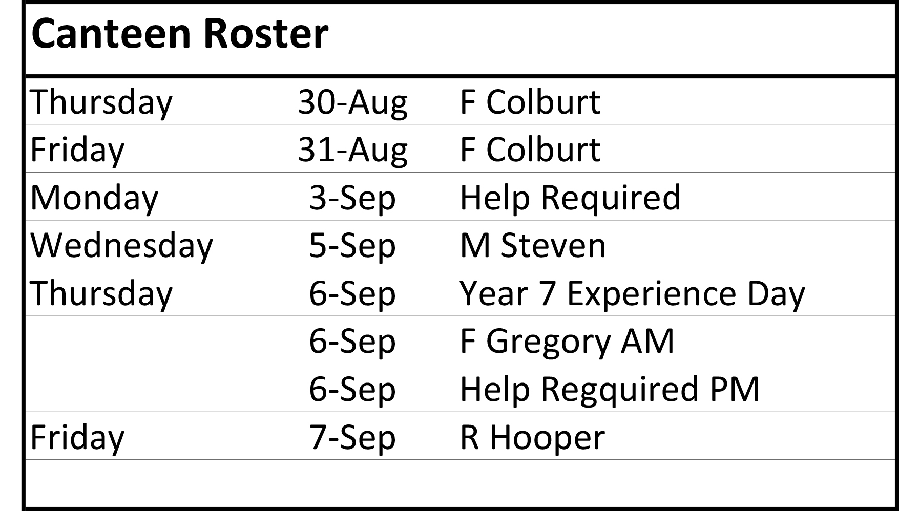 canteen roster