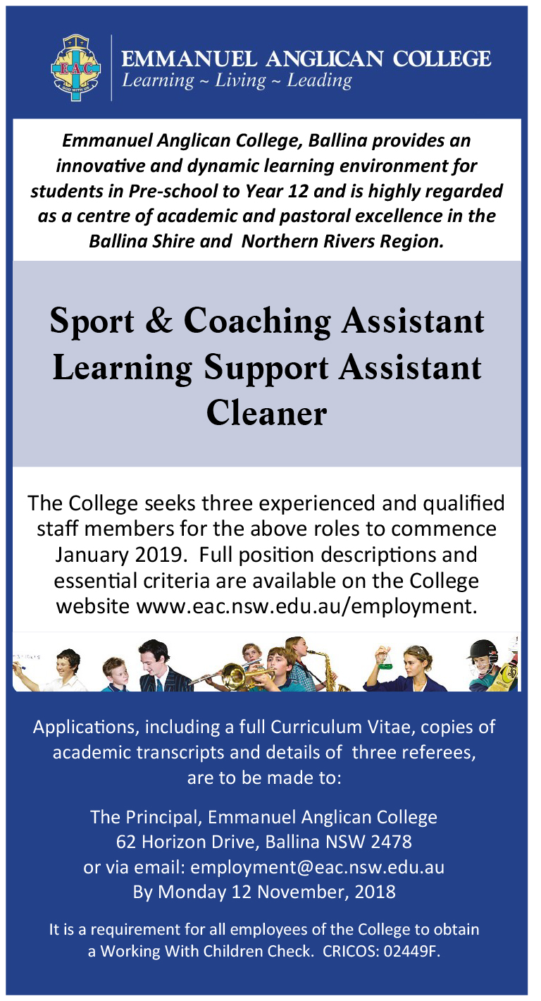 Sport and Coaching Assistant, Learning Support Assistant, Cleaner