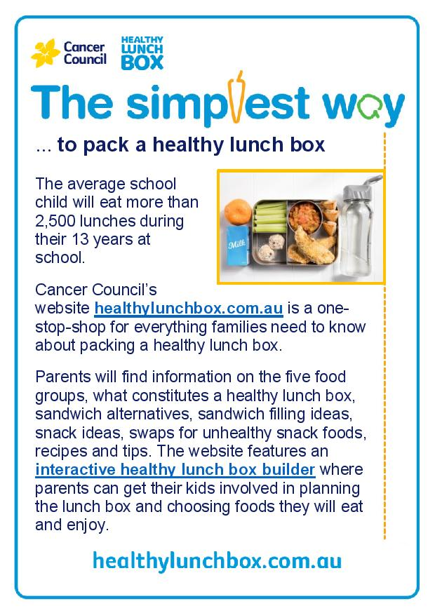 Cancer Council Healthy Lunch Box Website nutrition snippet (1)