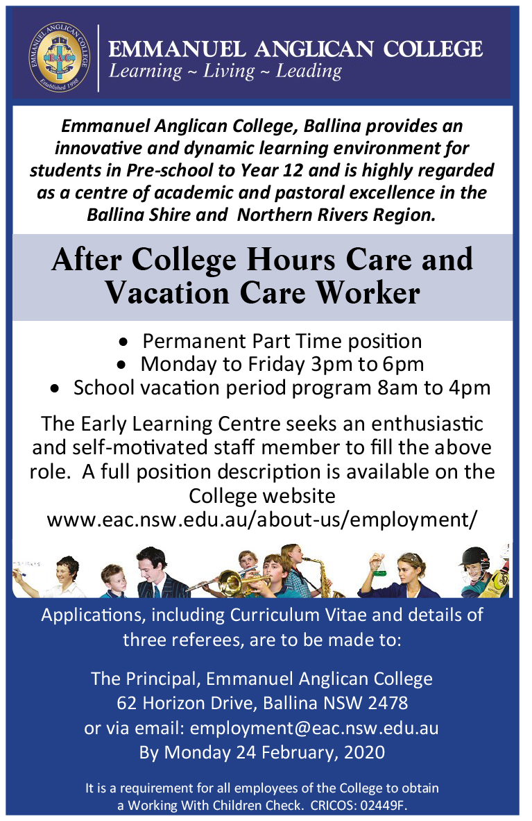 After College Hours Care and Vacation Care Worker