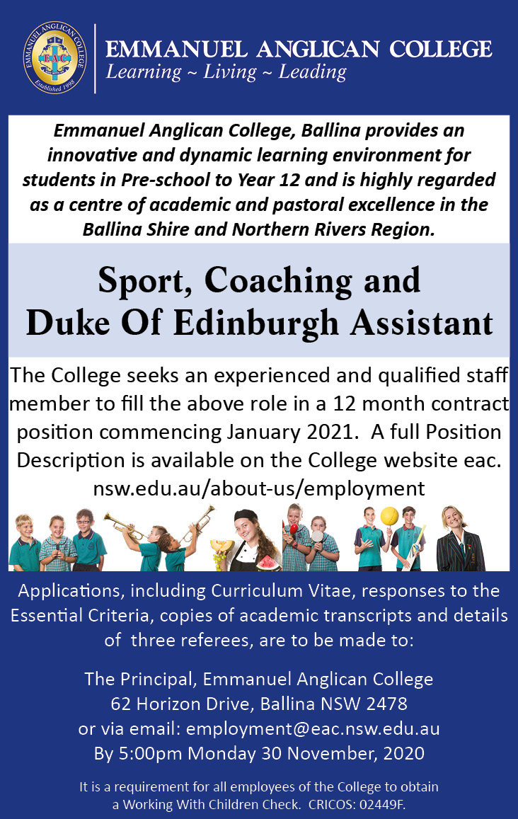 Sport Coaching and DoE Assistant Ad