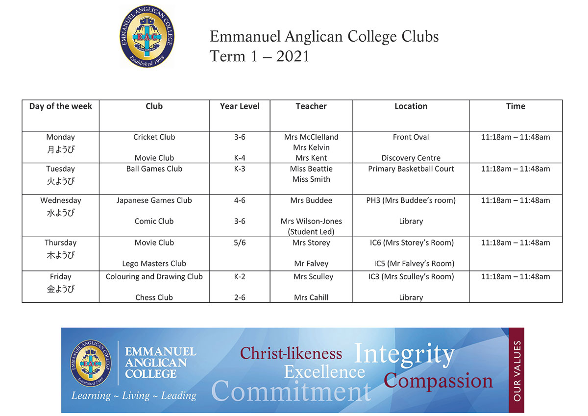Primary-Clubs-Timetable-Term-1-2021
